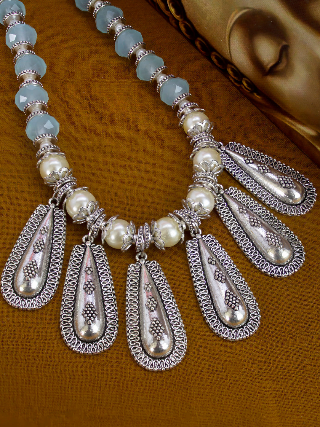 German silver & sky blue crystal water drop shape necklace set