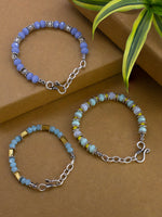 Load image into Gallery viewer, Handcrafted German Silver , beads &  multi colour crystals bracelet set of three