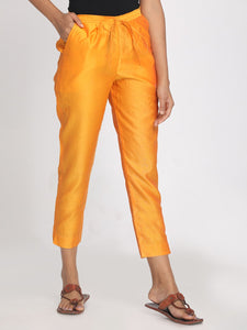 Pure chanderi orange solid cropped pant