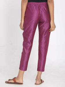 Pure chanderi purple solid cropped pant