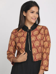 Multicoloured Silk Open Front Cropped Jacket