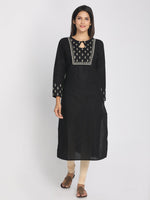 Load image into Gallery viewer, Zari embroidered Black Straight Long Kurta With Matching Mask