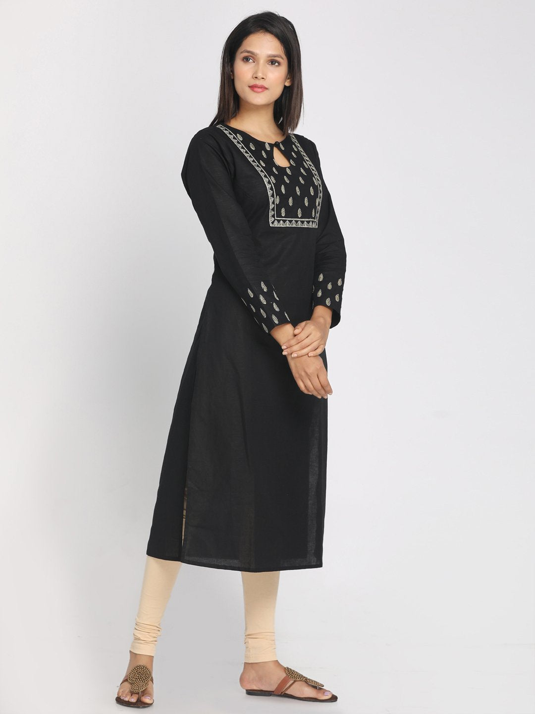 Zari embroidered Black Straight Long Kurta With Matching Mask