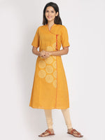 Load image into Gallery viewer, Hand Block Printed Yellow Angarakha Style Kurta With Mask