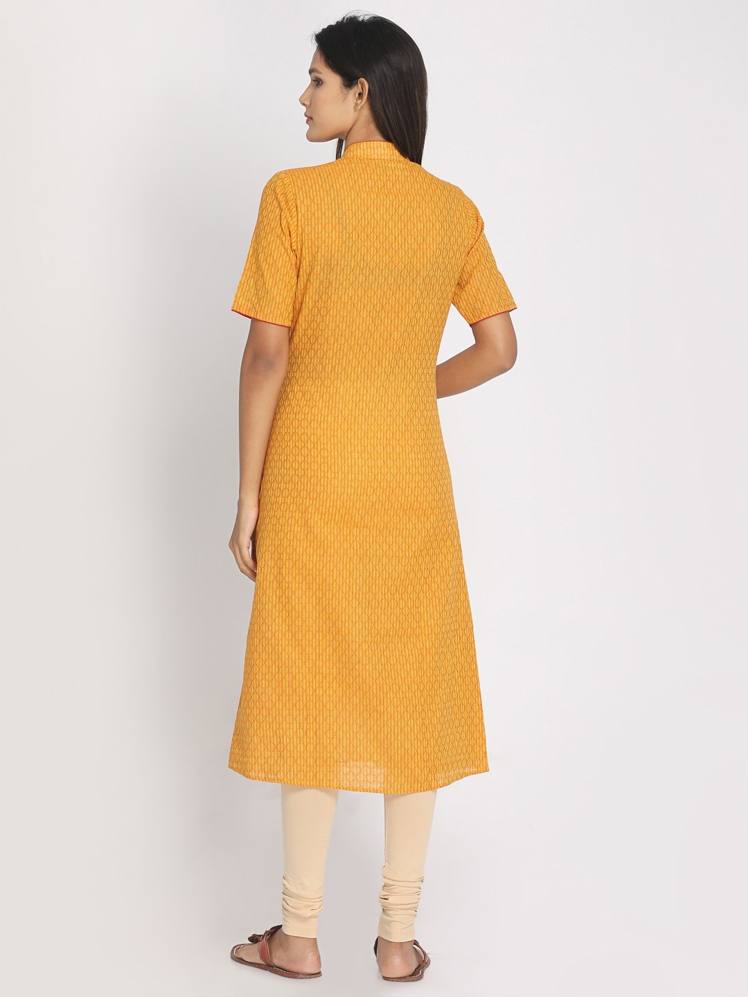 Hand Block Printed Yellow Angarakha Style Kurta With Mask