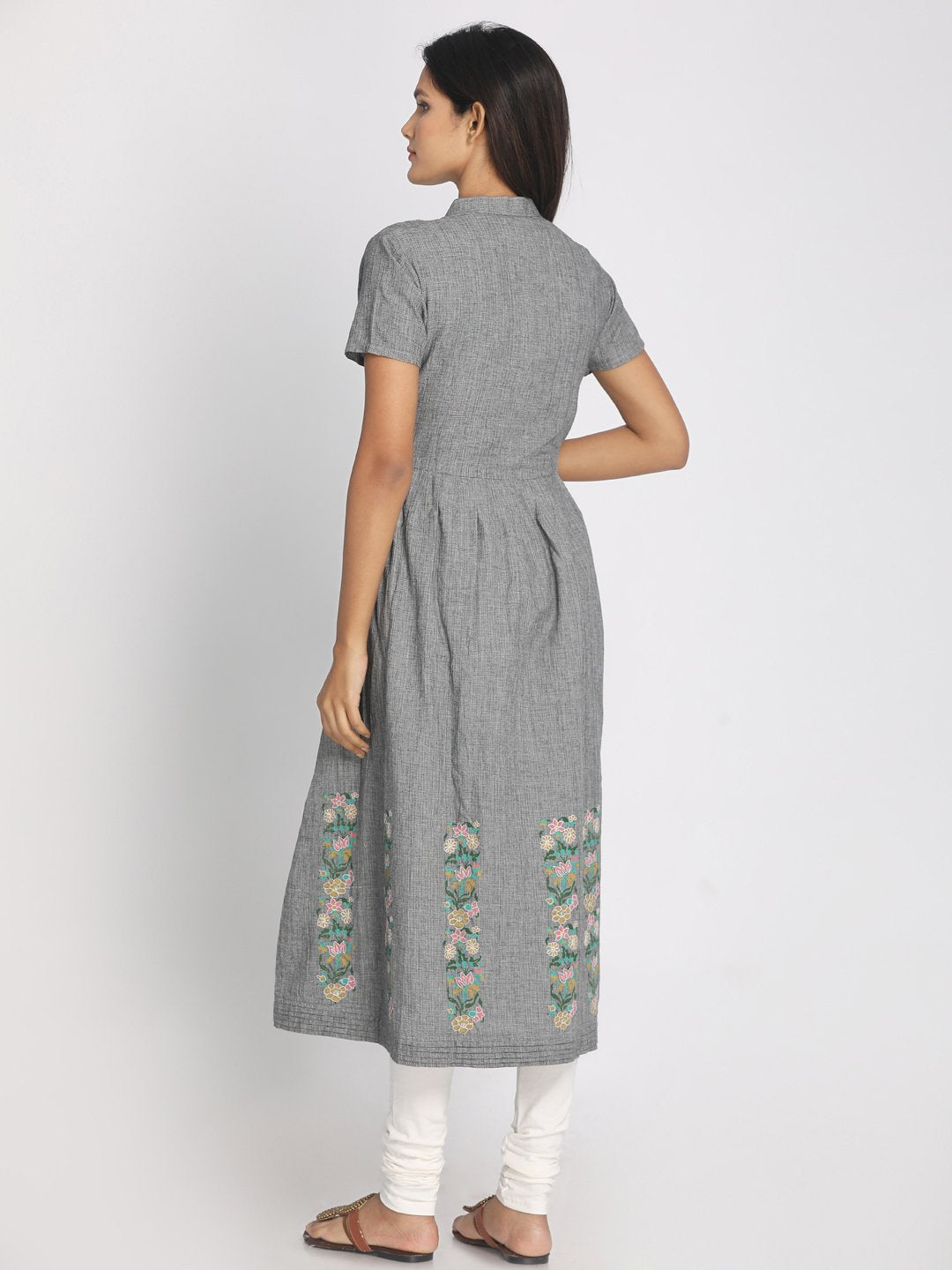 Block Printed and Embroidered Grey Maxi Dress With Mask