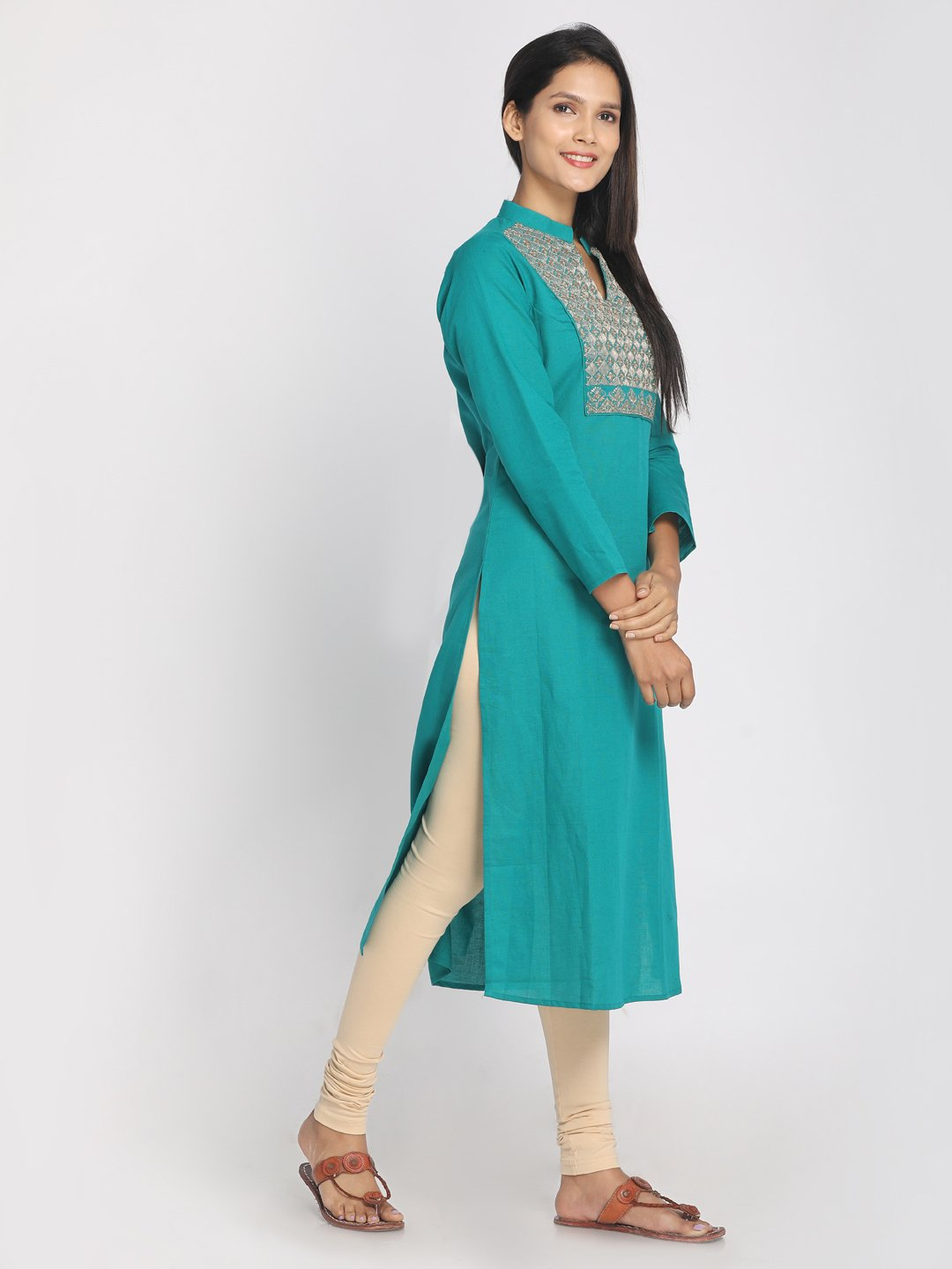 Zari embroidered Turquoise Blue Straight long Kurta With Mask