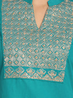 Load image into Gallery viewer, Zari embroidered Turquoise Blue Straight long Kurta With Mask