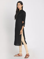 Load image into Gallery viewer, Zari embroidered Black Straight Long Kurta With Mask
