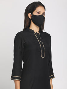 Zari embroidered Black Straight Long Kurta With Mask