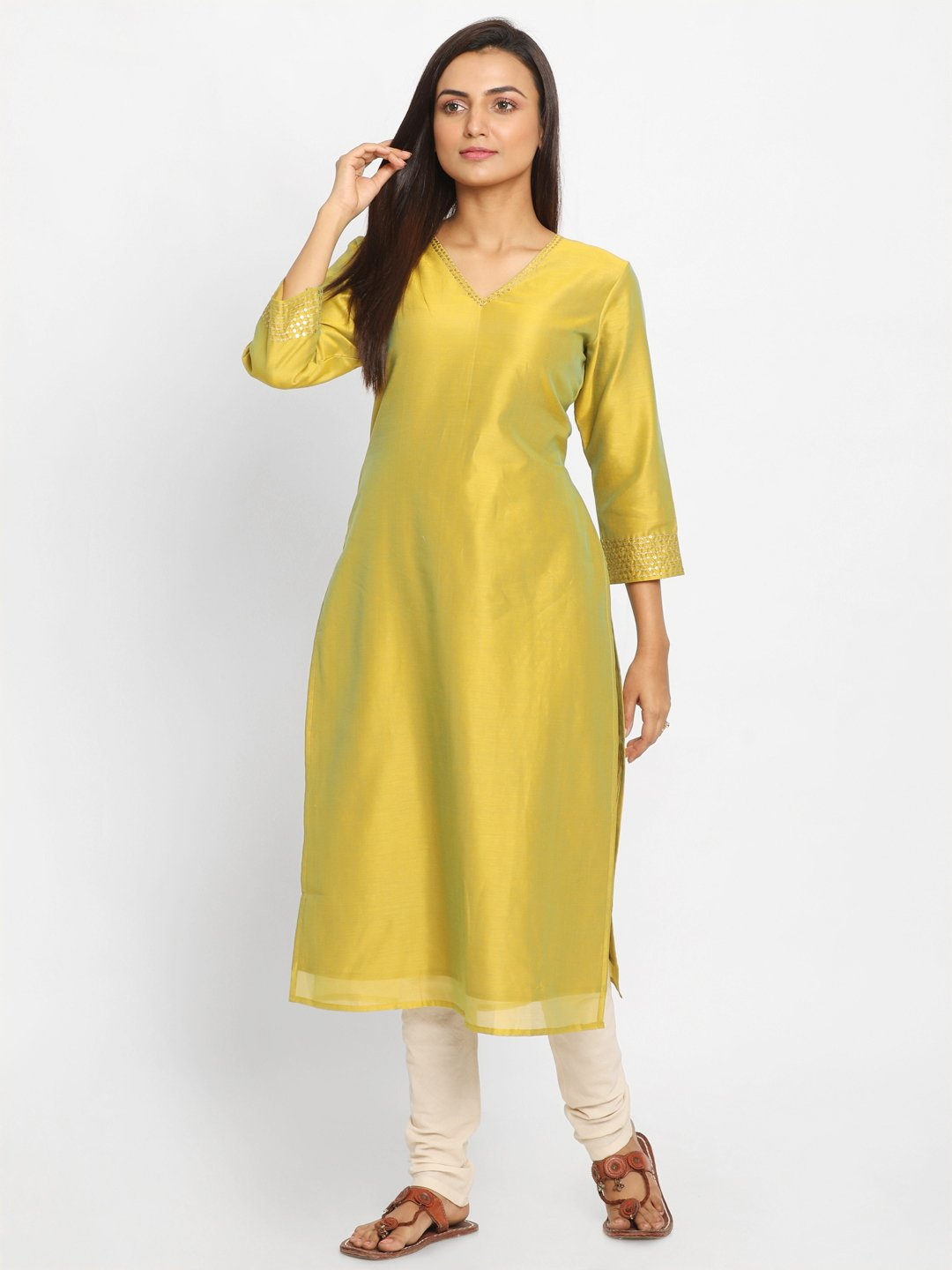 Yellow & Green Solid Straight Kurta