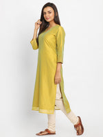 Load image into Gallery viewer, Yellow & Green Solid Straight Kurta