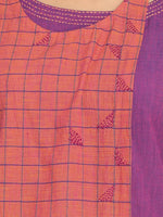 Load image into Gallery viewer, 100% Cotton Purlpe and Orange Colour Blocked Long kurta