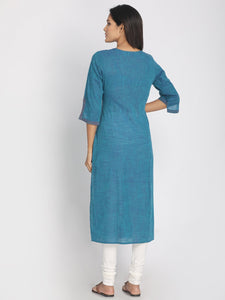 100% Cotton Teal and Blue Colour Blocked Long kurta