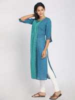 Load image into Gallery viewer, 100% Cotton Teal and Blue Colour Blocked Long kurta