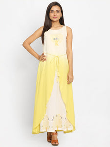 Yellow & Off-White Colourblocked A-Line Kurta