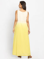 Load image into Gallery viewer, Yellow & Off-White Colourblocked A-Line Kurta