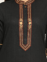 Load image into Gallery viewer, Embroidered Assymetrical Black Kurta