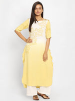 Load image into Gallery viewer, Yellow & White Printed Straight Kurta