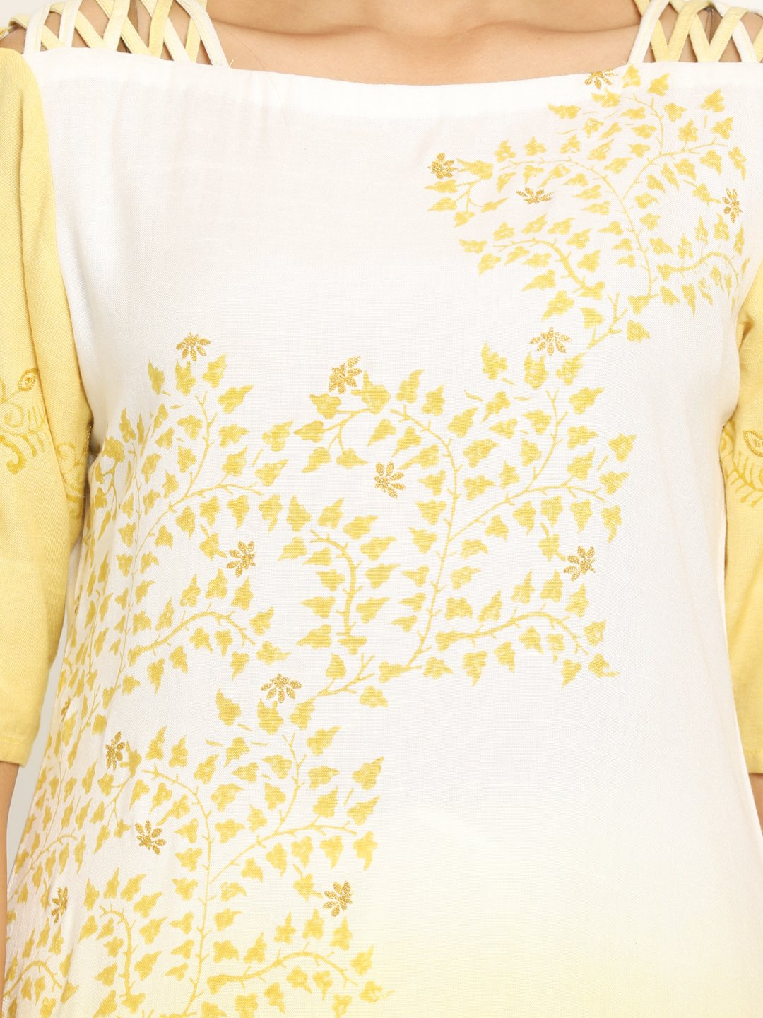 Yellow & White Printed Straight Kurta