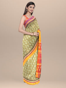 Cotton Handwoven & Hand Block Printed Saree