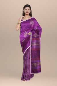 Pure Chanderi Saree with Hand Block Print and Contrast Border