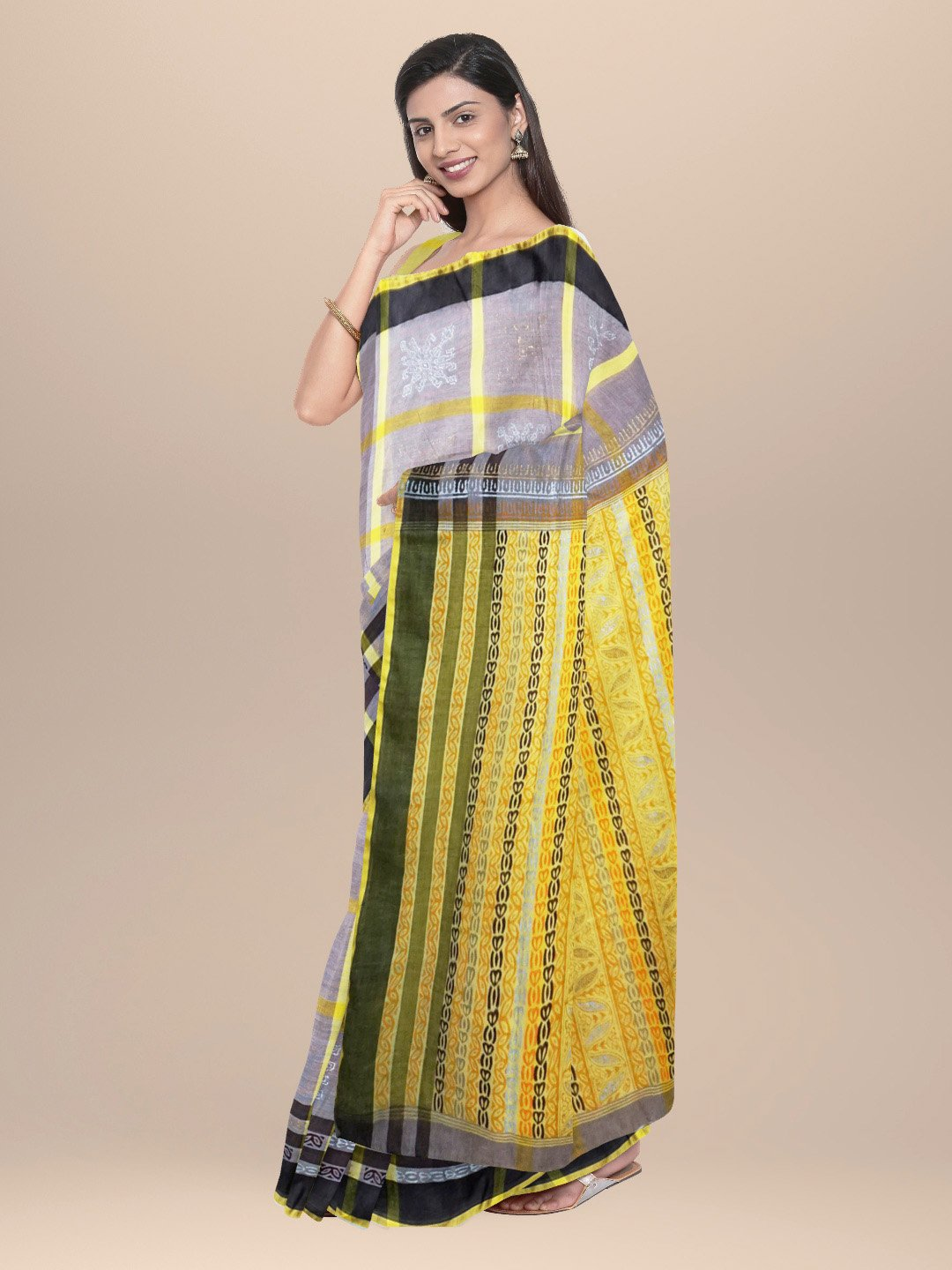 Cotton Handwoven & Hand Block Printed Saree Brown