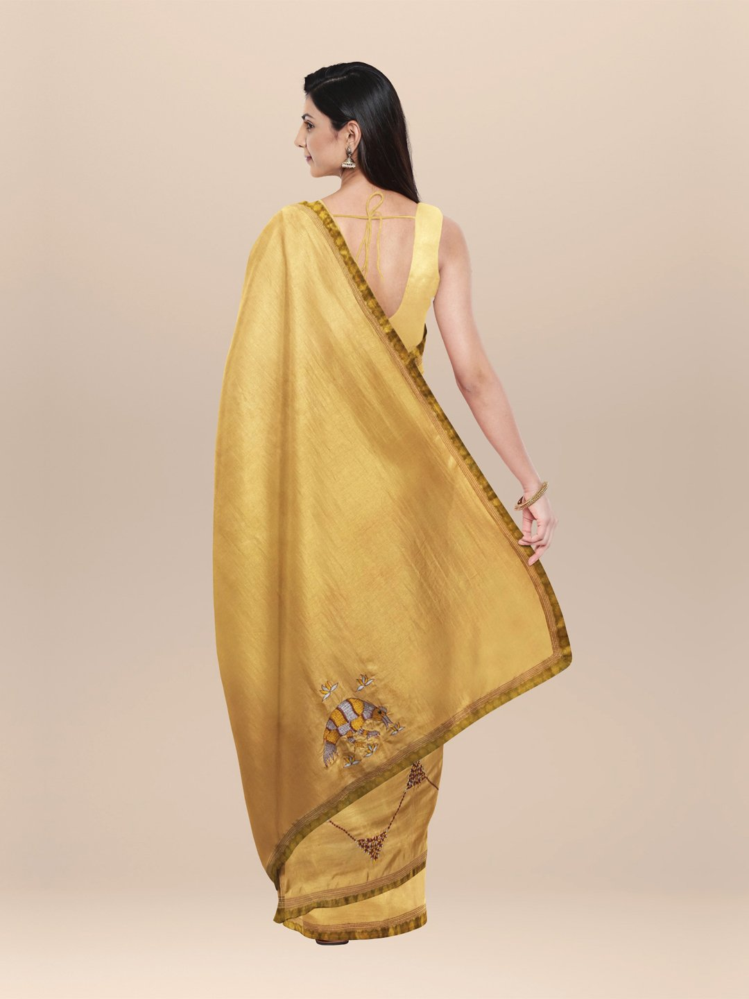 Silk Saree With Thread Embroidery