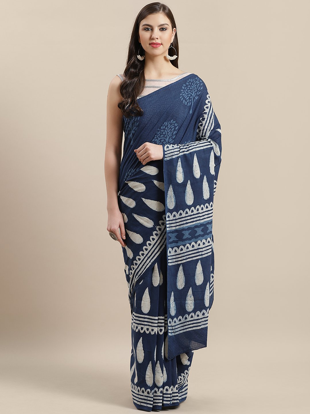 Indigo White Hand Printed Cotton Saree