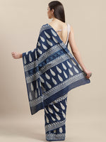 Load image into Gallery viewer, Indigo White Hand Printed Cotton Saree