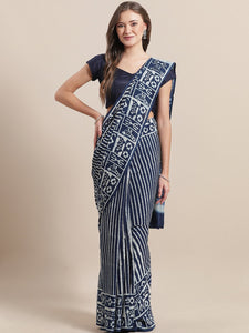 Navy White Striped Block Printed Cotton Saree
