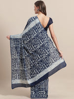 Load image into Gallery viewer, Navy White Striped Block Printed Cotton Saree