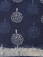 Load image into Gallery viewer, Indigo White Hand Print Cotton Saree