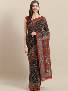 Black maroon hand block printed chanderi silk saree