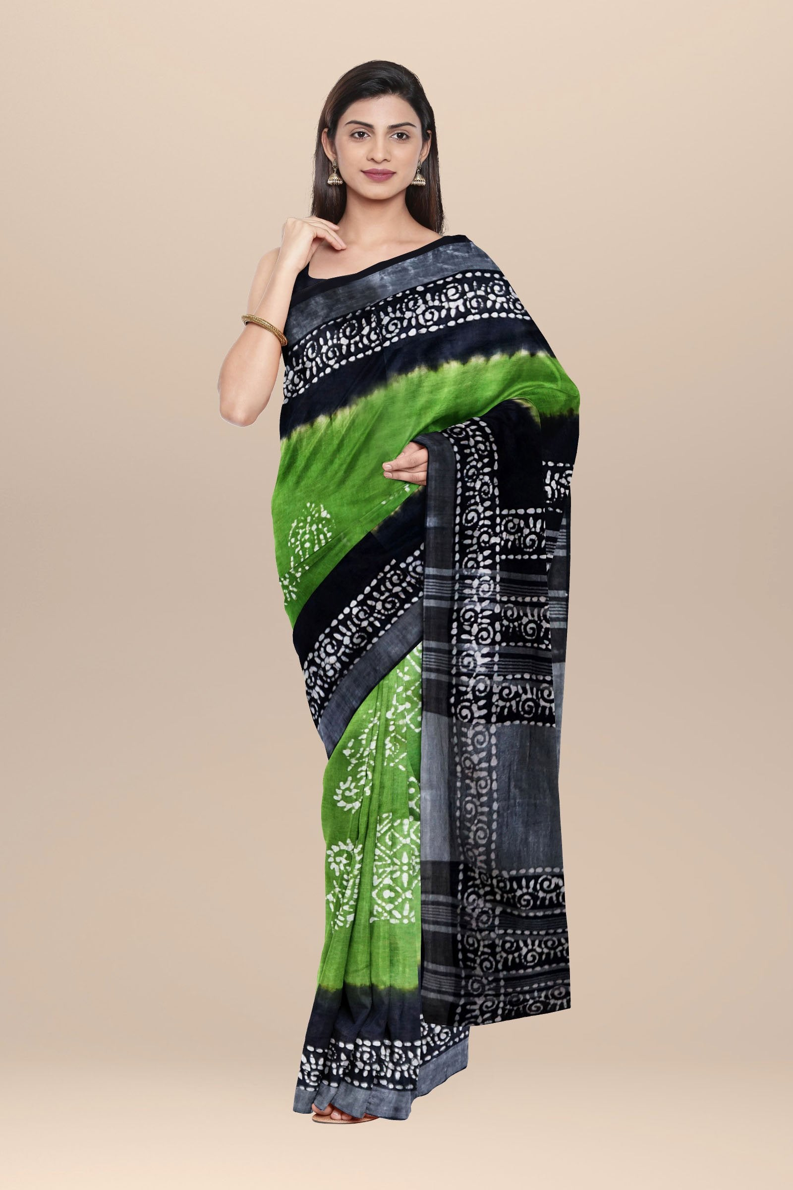 Cotton Multi color Batik Saree