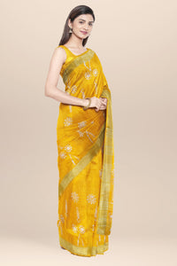 Yellow Cotton Batik Saree