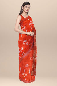 Pink Cotton Batik Saree