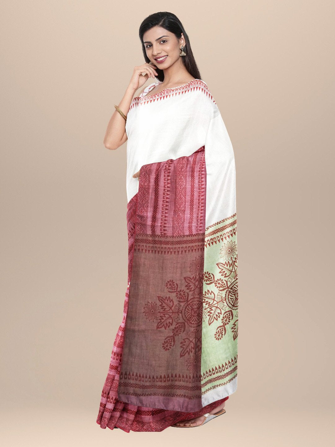 Off White maroon Cotton Handwoven and Hand Block Printed Saree