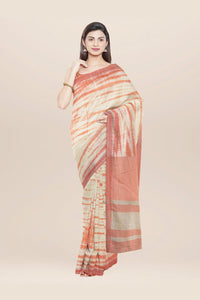 Beige handwoven tie dyed cotton saree
