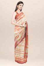 Load image into Gallery viewer, Beige handwoven tie dyed cotton saree