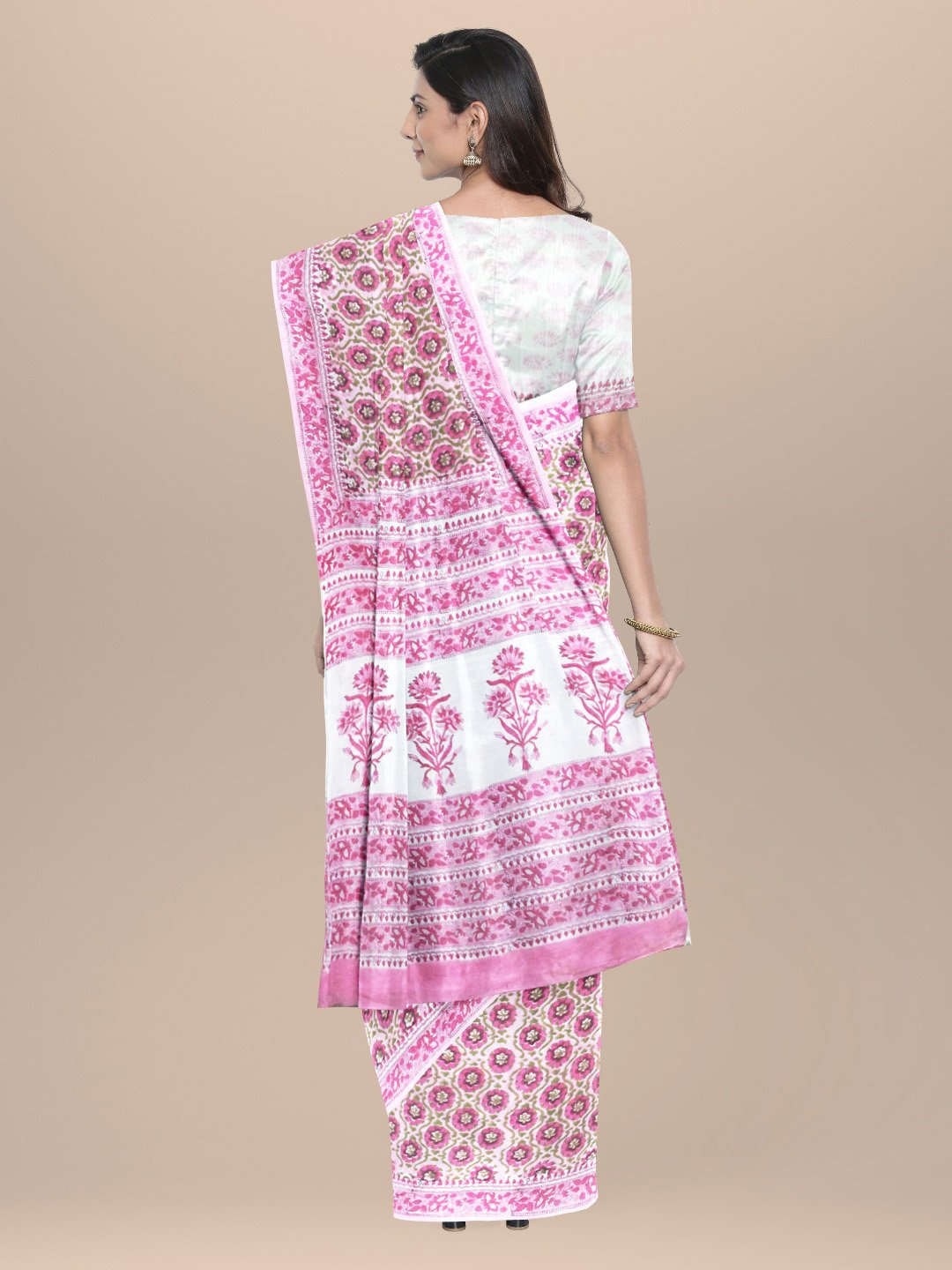 Light pink Cotton Sangenari Hand Block Printed Saree