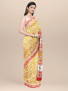 Yellow and White Cotton Sangenari Hand Block Printed Saree