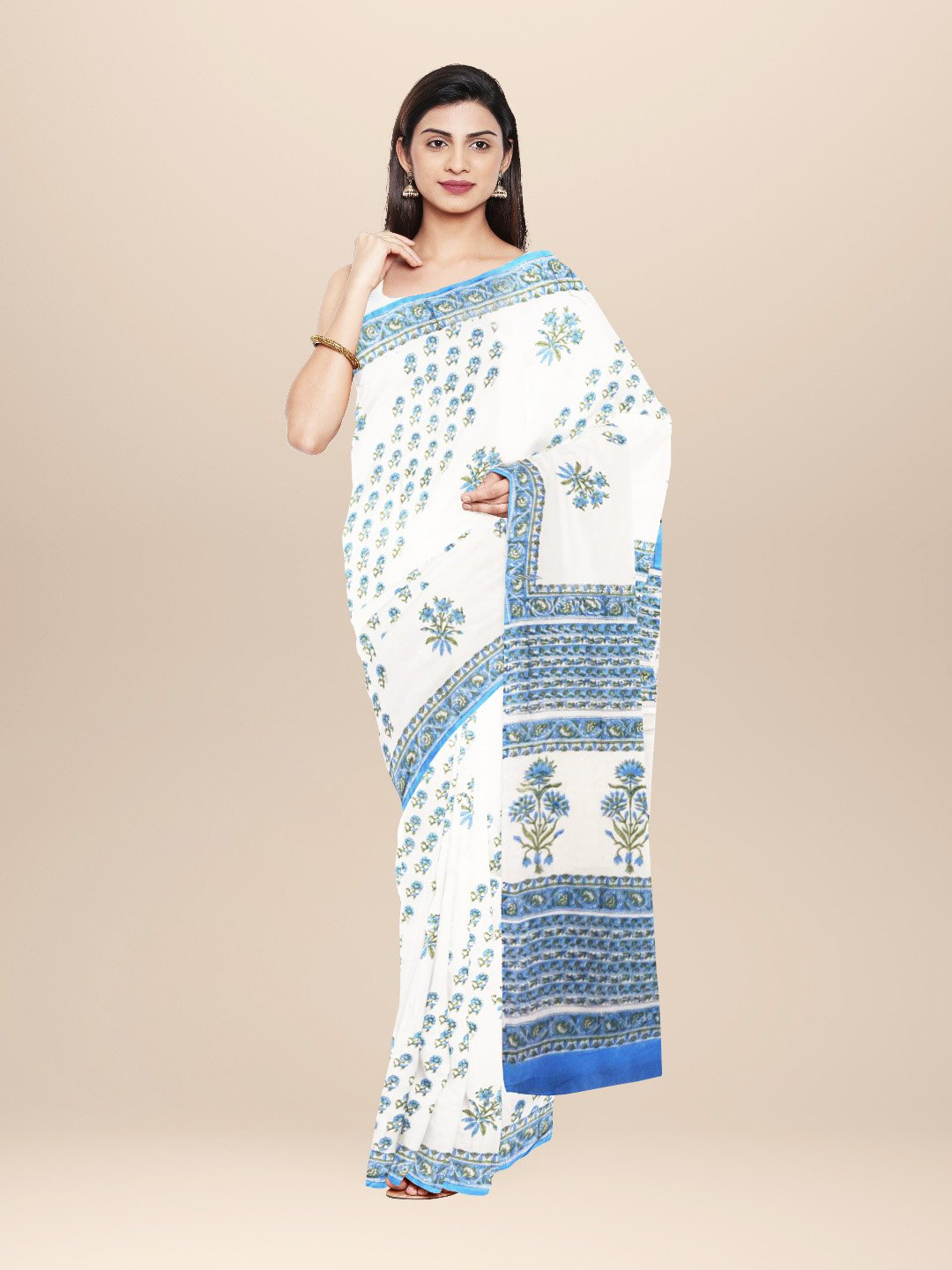 White and Blue Cotton Sangenari Hand Block Printed Saree