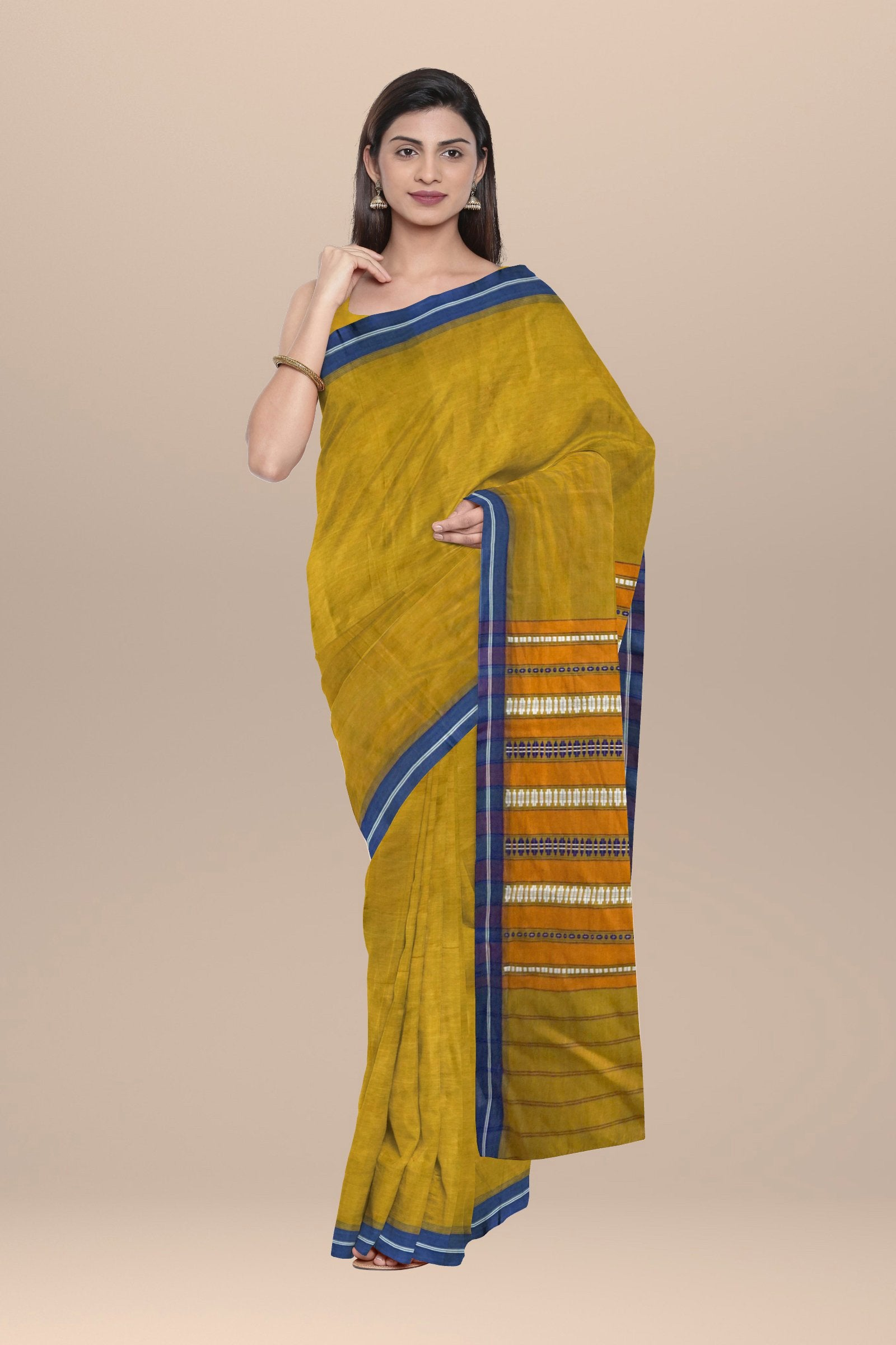 Olive green handwoven cotton Saree