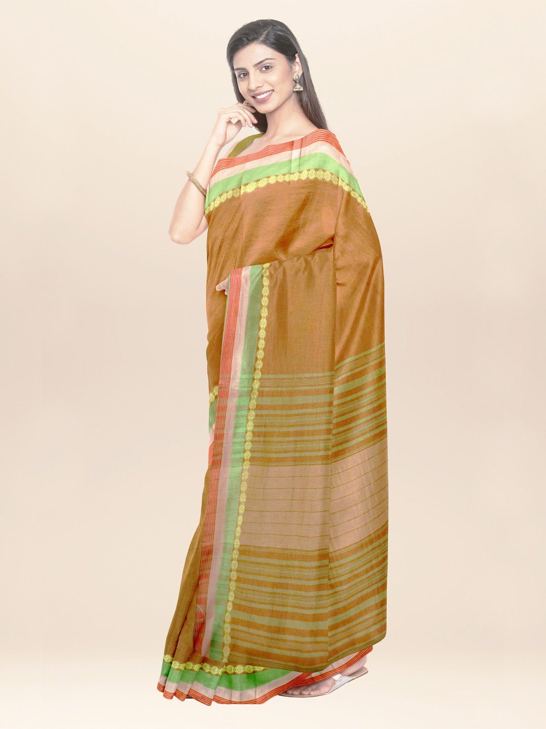 Olive brown handwoven cotton saree