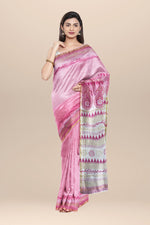 Load image into Gallery viewer, Pink and white Chanderi cotton silk Saree with Hand Block Print