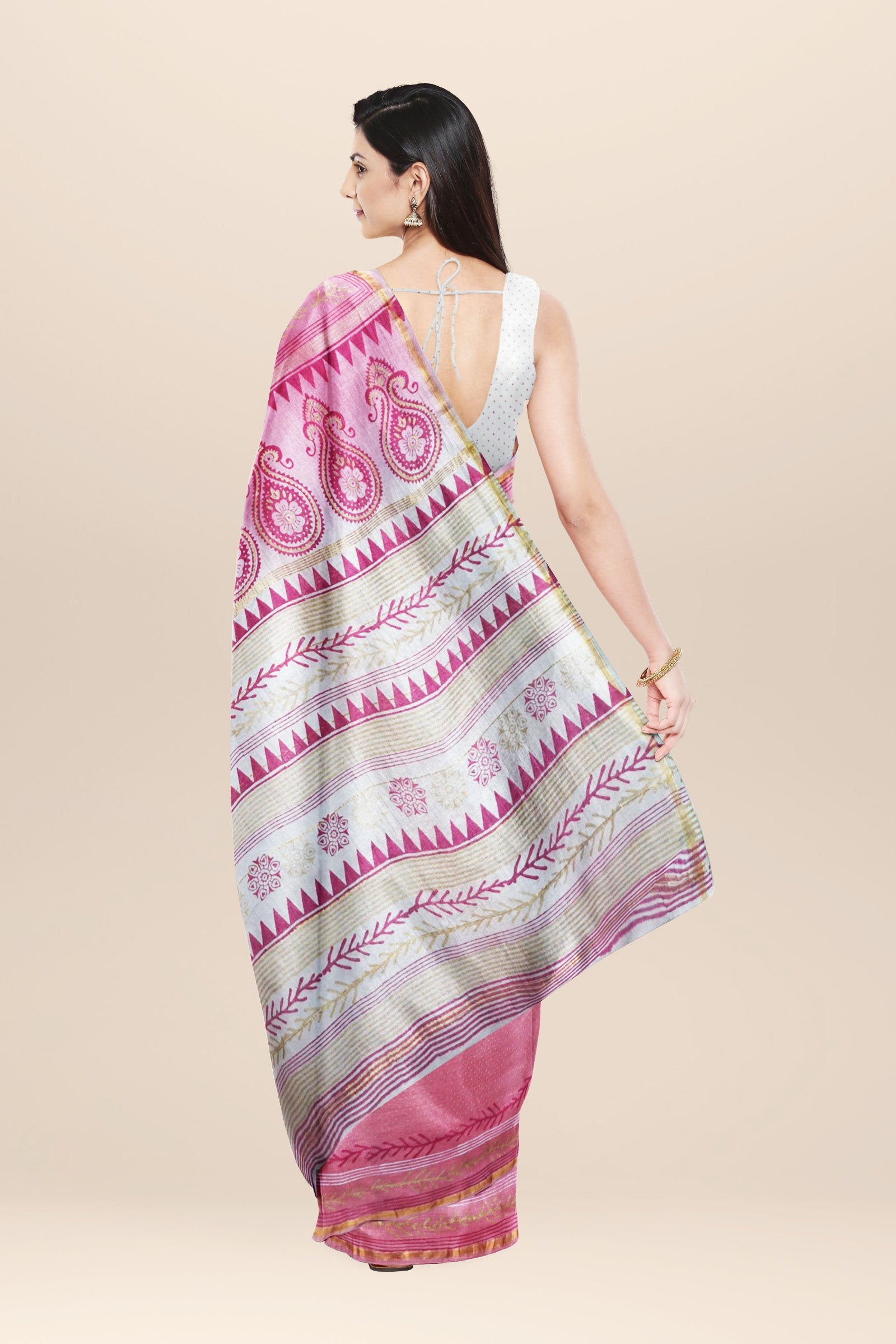 Pink and white Chanderi cotton silk Saree with Hand Block Print