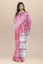 Load image into Gallery viewer, Pink Cotton Batik Saree