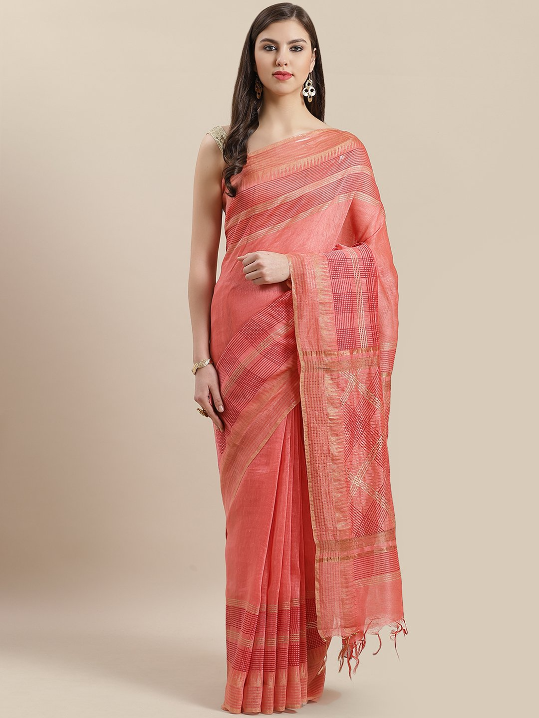 Peach Gold Block Printed Linen Saree