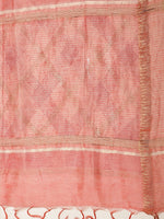 Load image into Gallery viewer, Peach Gold Block Printed Linen Saree